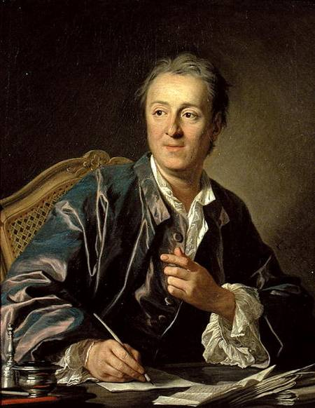XIR37016 Portrait of Denis Diderot (1713-84) 1767 (oil on canvas) by Loo, Louis Michel van (1707-71) oil on canvas 81x65 Louvre, Paris, France Giraudon French, out of copyright